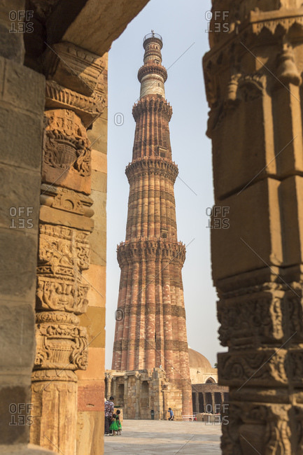February 26, 2016: Victory column Qutub Minar and Qutub complex, Delhi, India <Victory Column Qutb Minar and Qutb Complex, Delhi, India