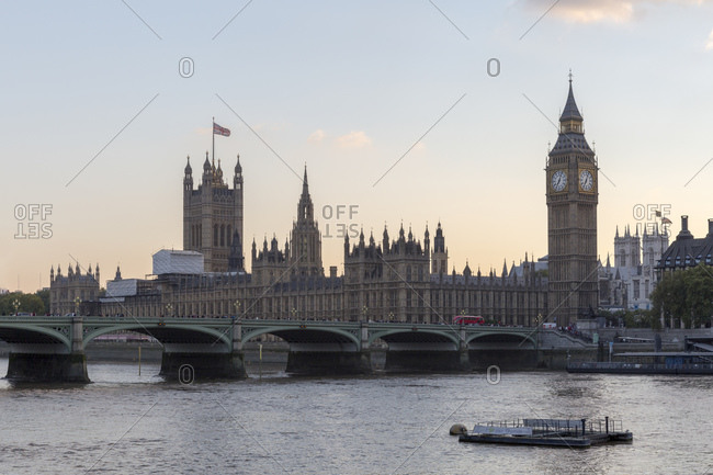 September 10, 2015: Palace of Westminster and the clock tower called Elizabeth Tower with the Big Ben bell, London, United Kingdom