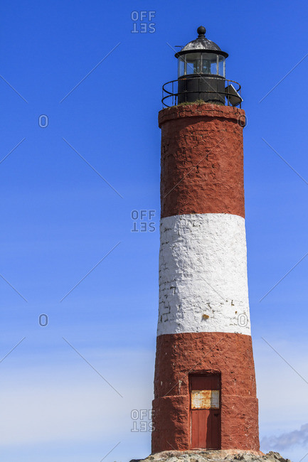 November 21, 2016: The Faro Les Eclaireurs, lighthouse on an uninhabited island in the Beagle Channel, Tierra del Fuego, Argentina, South America