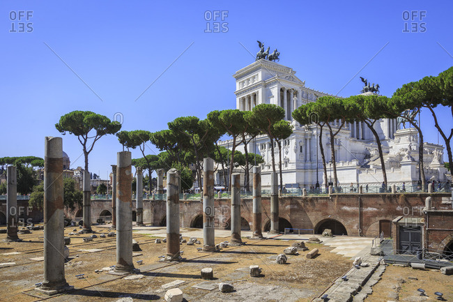 July 29, 2016: Trajan's Forum and Monumento Nazionale a Vittorio Emanuele II, national monument to Viktor Emanuel II, also Vittoriano, Rome, Lazio, Italy