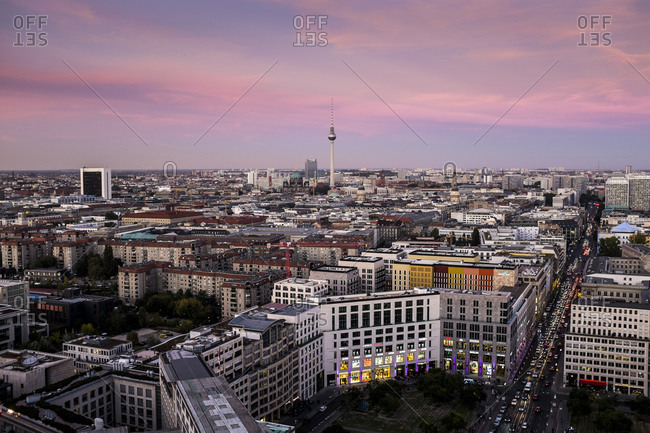 October 2, 2015: Skyline Berlin, view from the Kollhoff Tower towards the center / east, in front Leipziger Platz, Potsdamer Platz, Berlin, Germany