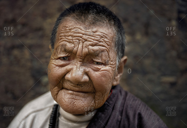 September 23, 2011: In Tibet the harshness of the weather is traced in people's faces. Late in life wrinkles are deep into people's skin. Remote Tibetan plateau