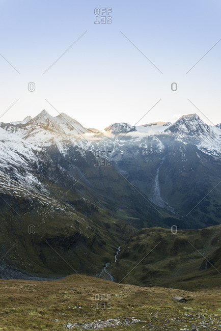 View from the Grossglockner High Alpine Road to the mountains of the Glockner Group with the peaks Hohe Dock and Sonnenwelleck, Fuscher Ache, Hohe Tauern National Park, Austria