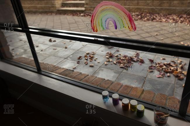 Painted rainbow on window