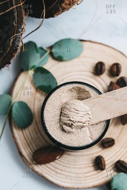 Handmade organic coconut and coffee face scrub