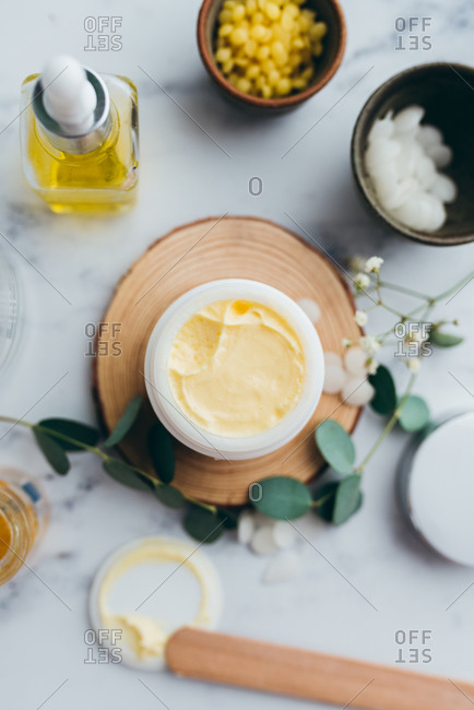 Overhead view of hydrating handmade face cream