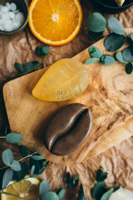 Handmade natural glycerin citrus and coffee soaps