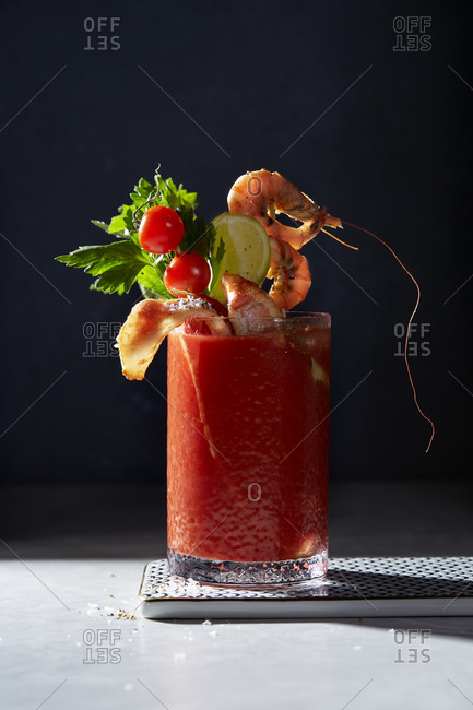 Bloody Mary cocktail with prawns and bacon