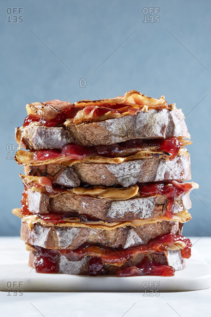 Peanut butter, jam and bacon stacked sandwich