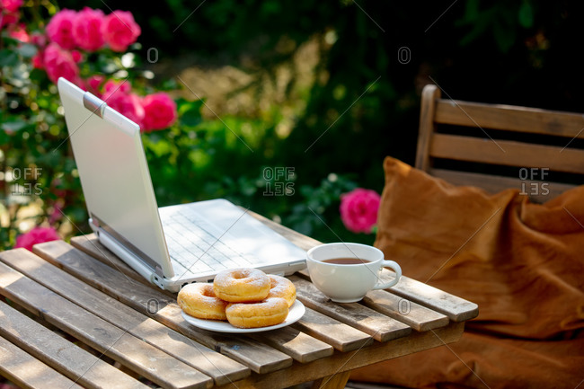 Coffee and donuts with laptop on a wooden table in a garden with roses in background