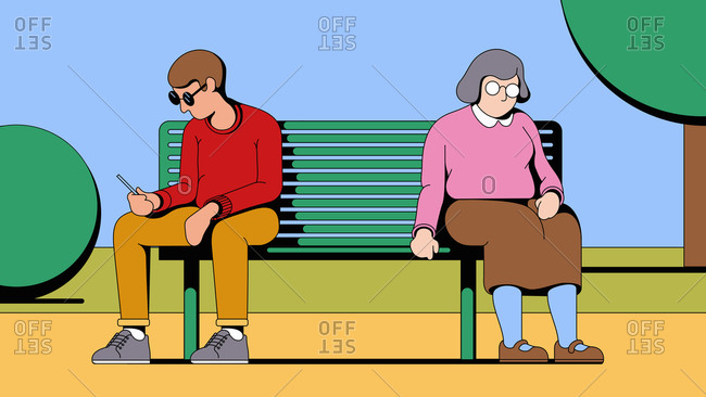 Baby boomer sitting on opposite end of a bench from a young Generation Z man on his cell phone
