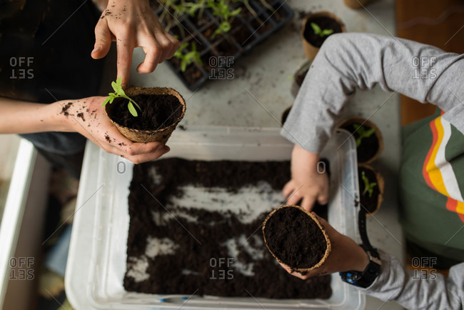 Two children fill pots with soil