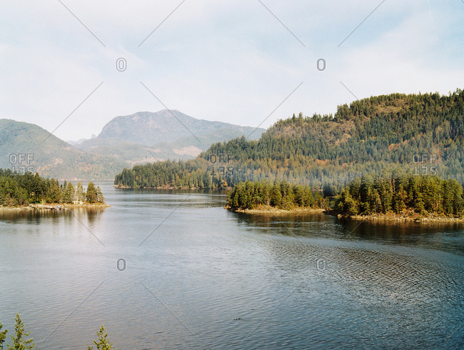 View of sea and mountains with forest, Sunshine Coast, British Columbia, Canada