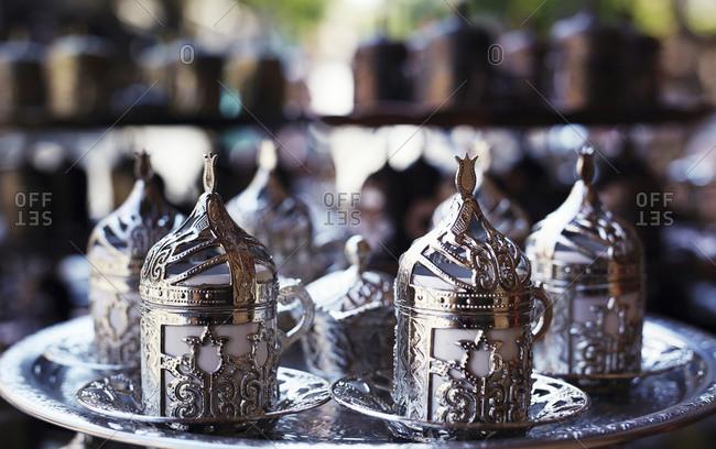 Ornate silver cups, Gaziantep, Southeastern Anatolia, Turkey