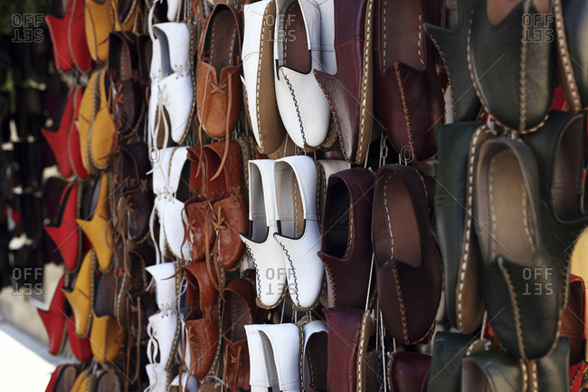 Traditional shoes for sale, Gaziantep, Southeastern Anatolia, Turkey