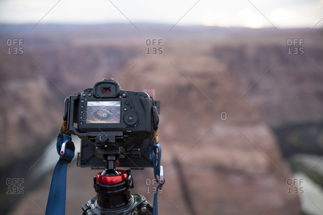 Camera in front of Horse Shoe Bend in Page, Arizona.