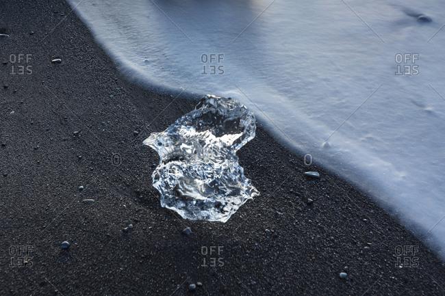 Ice over Diamond Beach, near Jokullsarlon, Iceland.