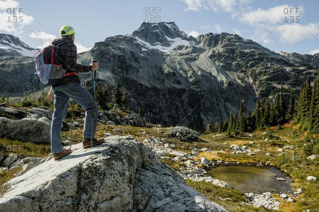 Hiker admiring scenic landscape, Pemberton, British Columbia, Canada