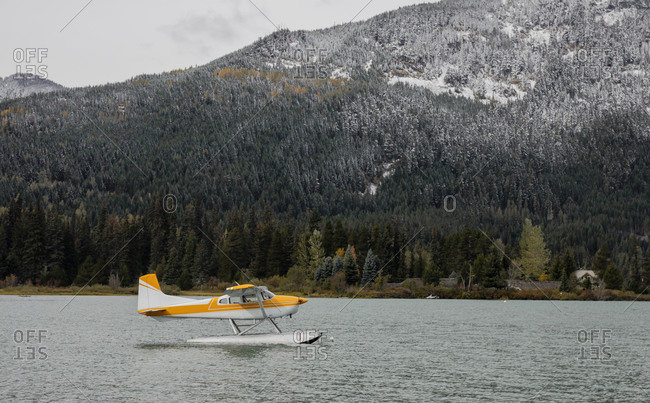 Seaplane moored on Green Lake, Whistler, British Columbia, Canada