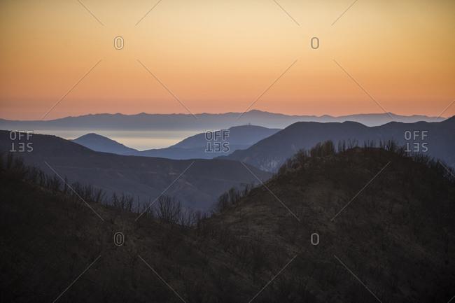 Hills at dusk, Ojai, California, USA