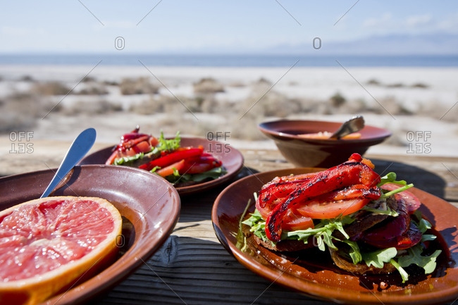 Grapefruits and vegetable sandwiches, New Mexico, USA