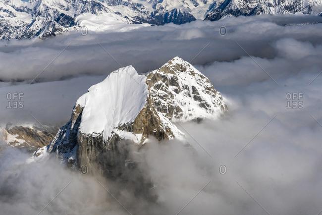 Aerial view of Broken Tooth peak, Alaska, USA