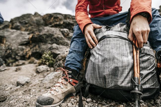 Hikers backpack on Mount Kilimanjaro, Tanzania