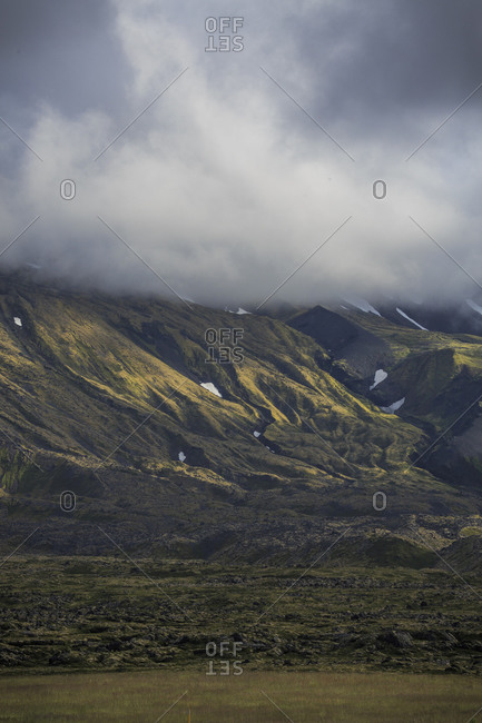 Mountains disappearing into clouds, Snaefellsnes, Iceland