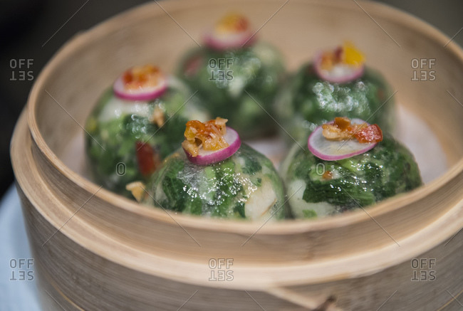 Chinese dumplings in steam basket, Hong Kong, China