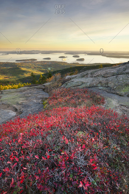 Sunrise from top of Cadillac Mountain in Acadia National Park, Maine, USA