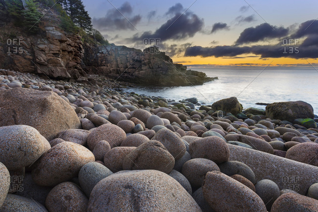 Sunrise at Monument Cove in Acadia National Park, Maine, USA
