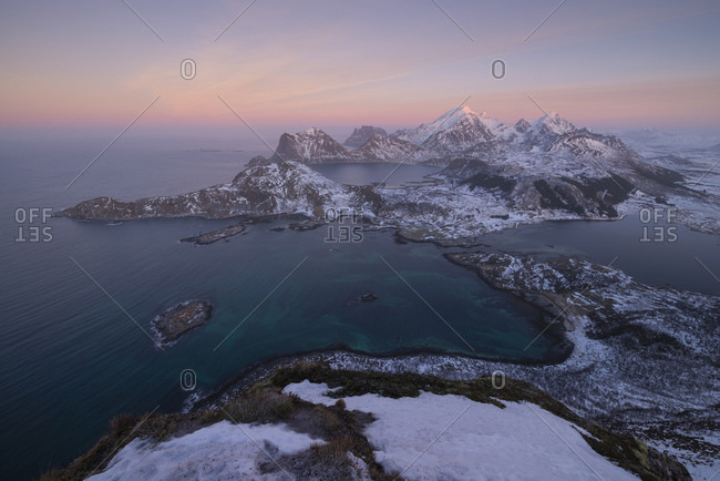 January winter twilight over the mountains of Vested, Loftin Islands, Norway