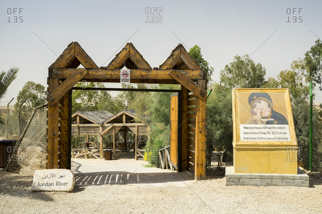 Jordan, Balqa Governorate, Al-Might's - October 1, 2016: Entrance to the baptism site in Jordan on the east bank of the Jordan River