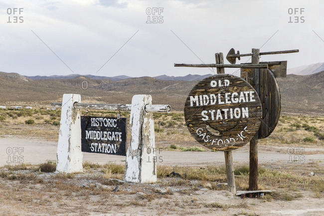 """USA, Nevada, Middlegate Station - September 5, 2018: Middlegate Station sign, along """"The Loneliest Road in America"""", U.S. Route 50 in Nevada."""