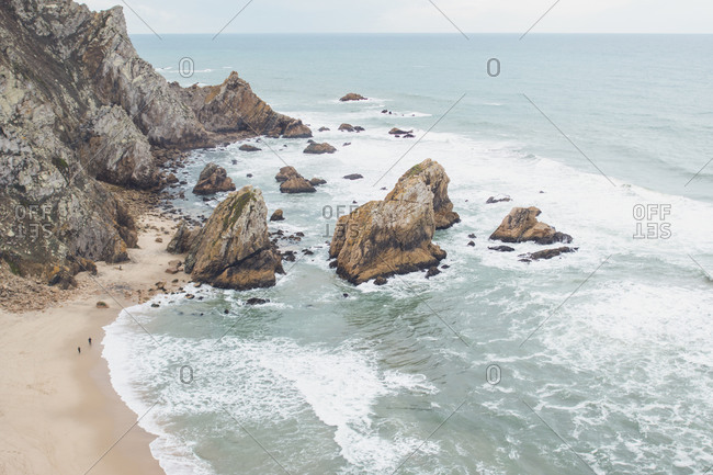 Aerial view of seascape and mountain at Ursa beach- Portugal