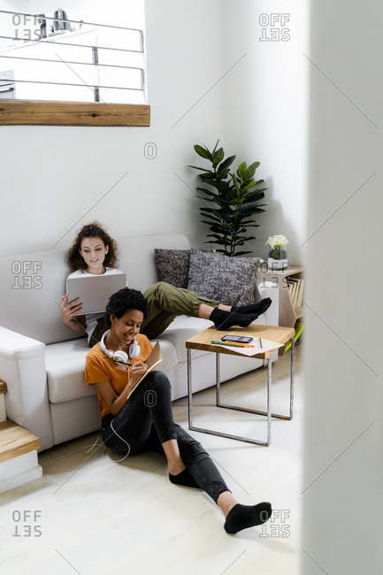 Two students working learning at home