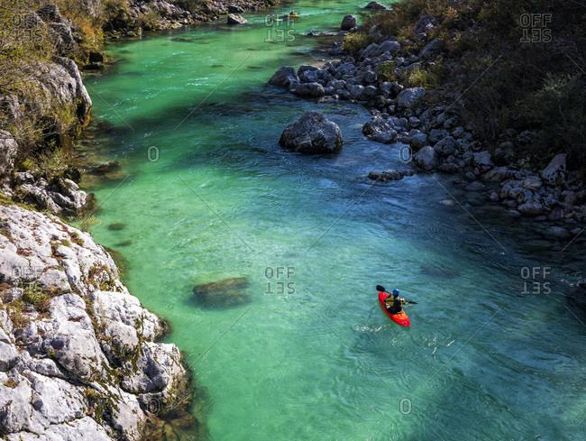 Slovenia-KayakeronSocariver on a sunny day