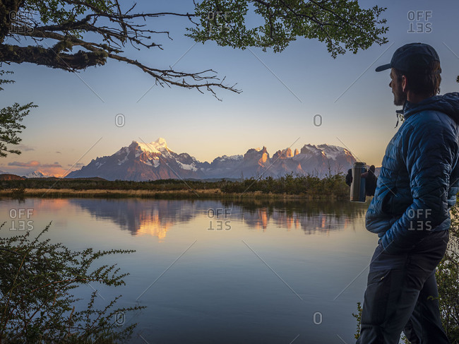 Hiker looking to mountains of Los Glaciares National Park- Rio Serrano- Chile