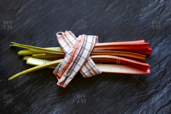 Bundle of fresh rhubarb stalks