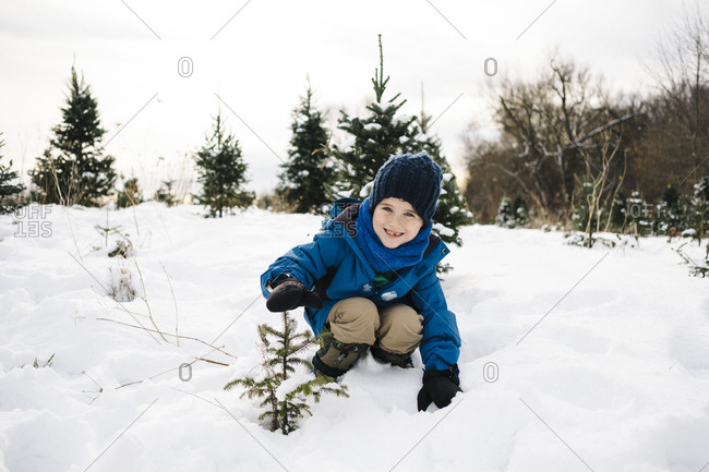 Smiling boy showing tree while crouching on snow covered land against sky