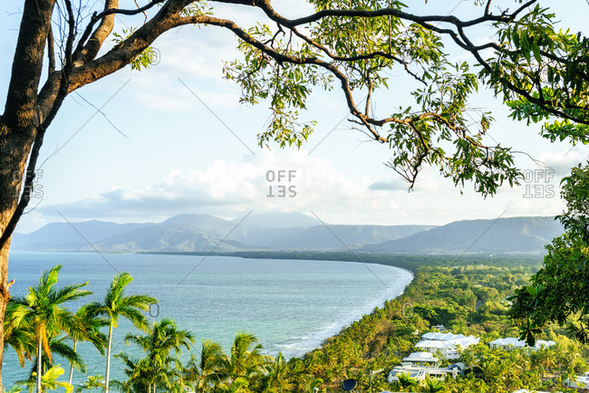 Aerial view of seascape and mountains against sky at Port Douglas- Queensland- Australia