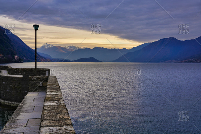 Lake Como at sunrise in winter- Lombardy- Italy