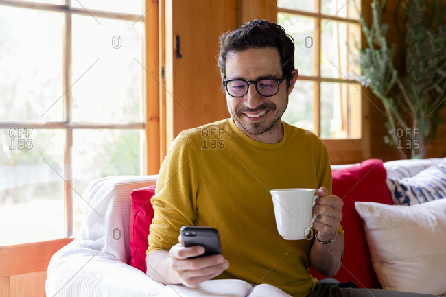 Smiling man holding coffee using smart phone while sitting on sofa in log cabin