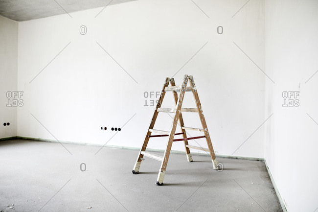Step ladder on construction site