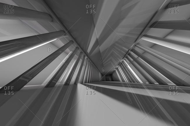 Three dimensional render of rows of columns along futuristic corridor