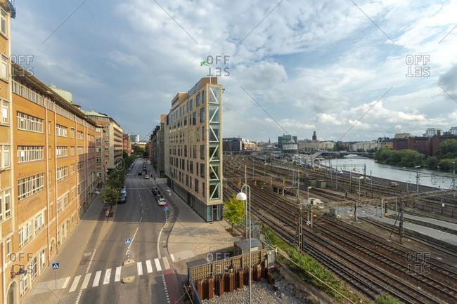 September 8, 2018: Sweden- Sodermanland- Stockholm- Narrow building in front of tracks of Stockholm Central Station