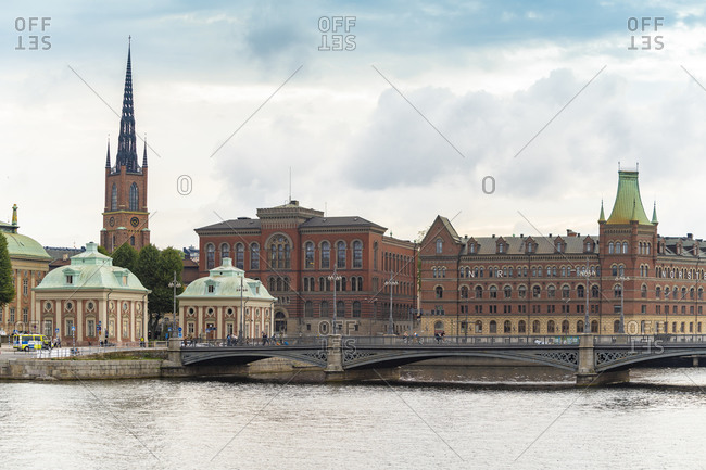 Sweden- Sodermanland- Stockholm- House of Nobility and arch bridge in front of Riddarholmen islet
