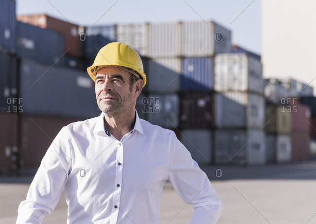 Portrait of businessman wearing safety helmet in front of cargo containers