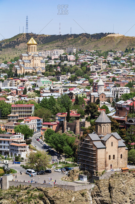 May 2, 2018: Holy Trinity Cathedral of Tbilisi amidst cityscape against clear sky- Stadtansicht- Tbilisi- Georgia