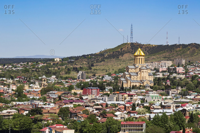 May 2, 2018: Holy Trinity Cathedral of Tbilisi and cityscape against clear sky at Tbilisi- Georgia